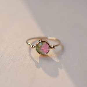 bague tourmaline bicolore or