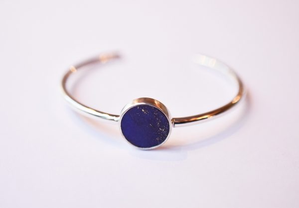 bracelet jonc argent lapis lazuli bijoux lyon créateur