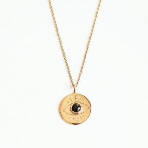 médaille oeil onyx vermeil collier
