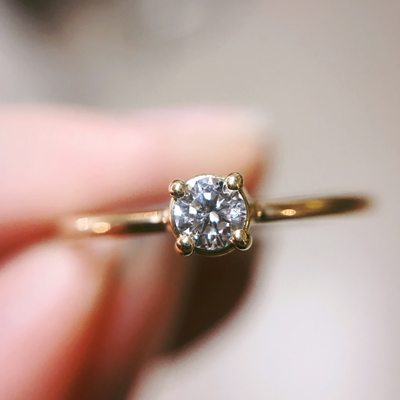solitaire diamant bague or