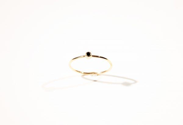 mini solitaire diamant noir bague fiançailles lyon