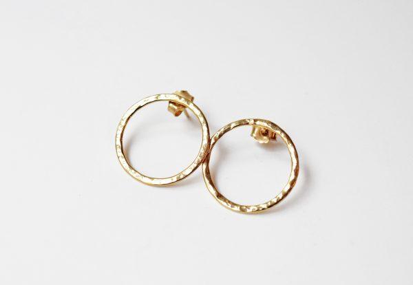 Boucles d'oreilles rondes martelées vermeil bijoux lyon