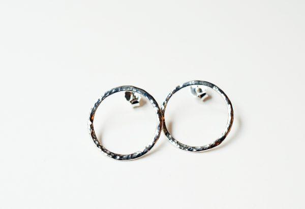 boucles d'oreilles rondes argent