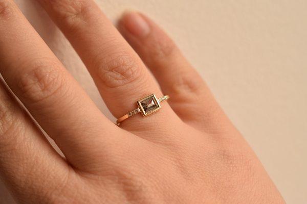 bague diamant rectangle salt and pepper bijoux fin lyon