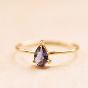 bague goutte fine or iolite