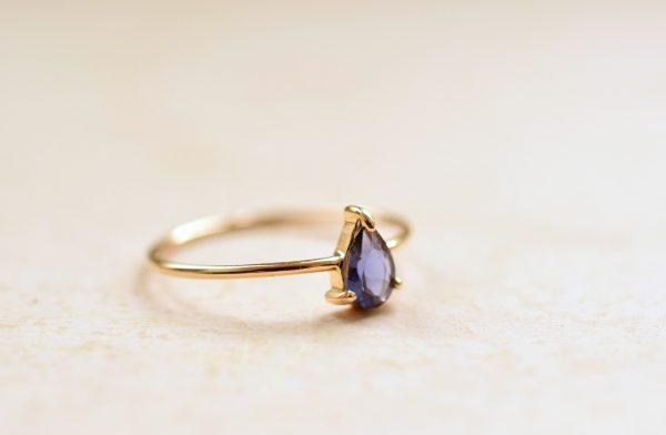 bague fine or goutte violette bijoux lyon