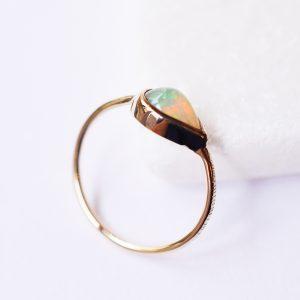 bague goutte opale fine or bijoux créatrice lyon