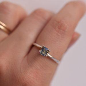 saphir rectangle bijoux sur mesure